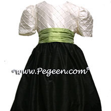 BLACK AND SPRITE GREEN flower girl dresses