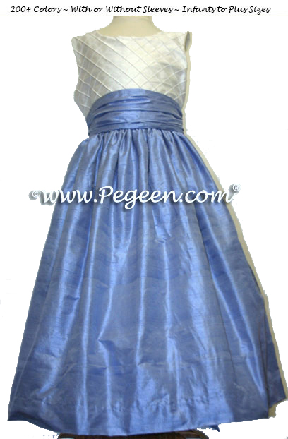 Custom Blue and White Pin Tuck Silk Style 357 Silk FLOWER GIRL DRESSES by PEGEEN