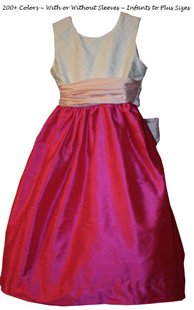 Hot Shock Pink, Peony Pink and New Ivory Pin Tuck Silk Bodice by Pegeen