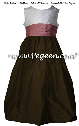 Dark Chocolate Brown and Rum Pink and White Pin Tuck Bodice custom  flower girl dresses