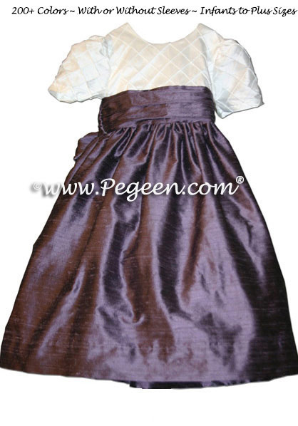 Antique White and Euro Lilac Pin Tuck Silk Bodice by Pegeen