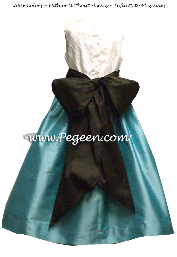 SEMI-SWEET (DARK BROWN) AND TIFFANY BLUE SILK FLOWER GIRL DRESSES WITH PIN TUCK BODICE
