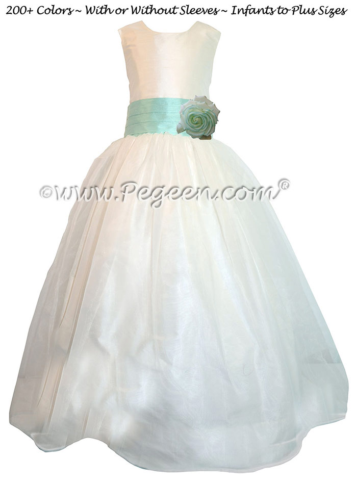 Custom Aqualine and New Ivory organza Silk Style 359 flower girl dress by Pegeen