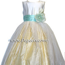 aqua and yellow flower girl dresses