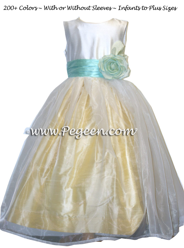 Baby Chick Yellow, Aqualine and ivory with organza skirt flower girl dress style 359