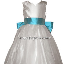 Flower Girl Dresses in Antique White and Bahama Breeze