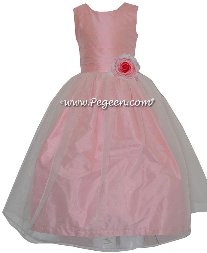 Custom Bubblegum Pink and Organza Silk Style 357 flower girl dress by Pegeen