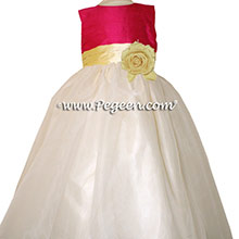 Cerise (hot pink) and Lemonade (yellow) organza CUSTOM Flower Girl Dresses