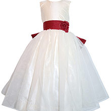 Christmas Red and Antique White FLOWER GIRL DRESSES