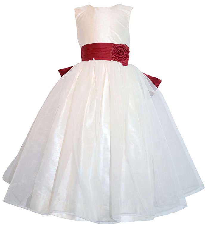 Ivory, Christmas Red silk and organza custom flower girl dresses by Pegeen.com