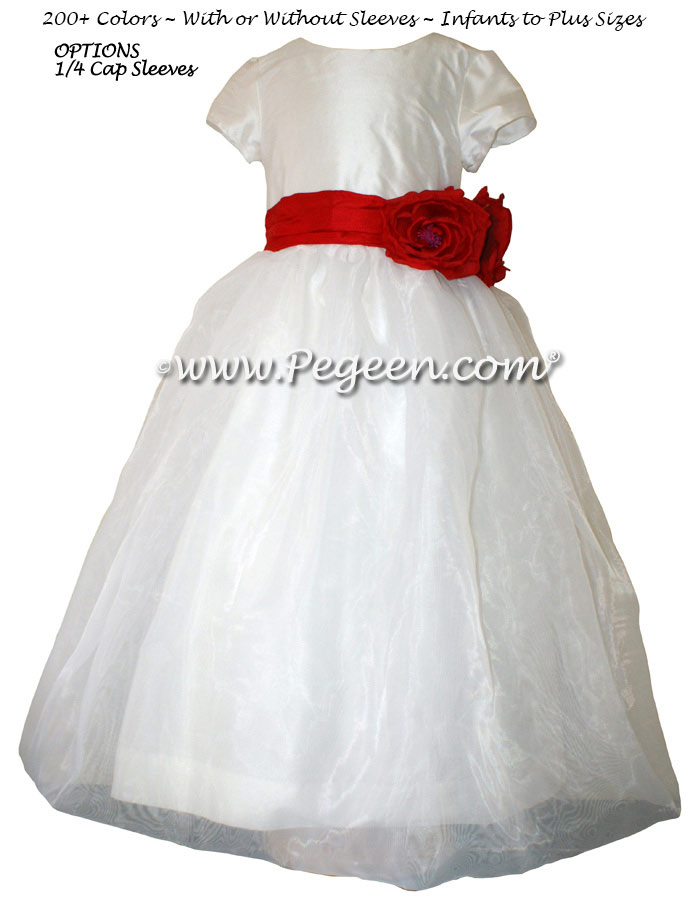 Christmas Red and New Ivory Flower Girl Dresses Style 359