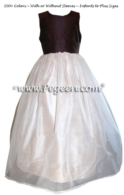 Ivory, Buttercreme and Semi-Sweet brown silk and organza custom flower girl dresses by Pegeen.com