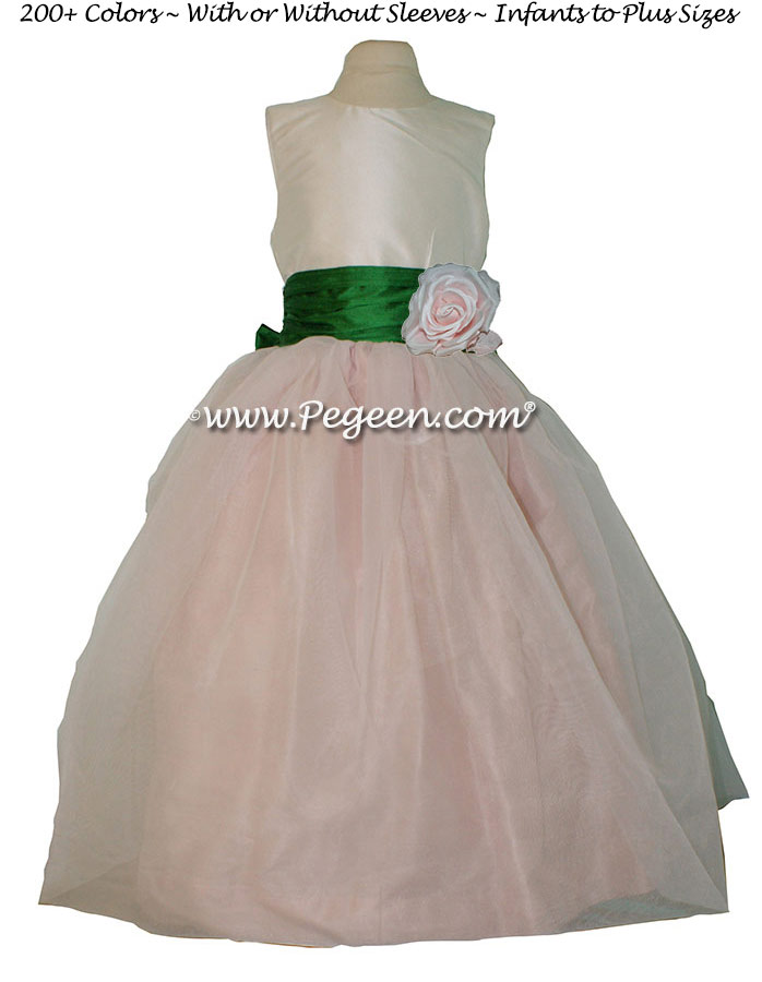 Petal Pink, Emerald Green and New Ivory silk Custom Flower Girl Dresses by Pegeen