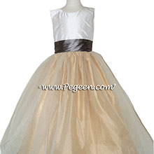 Flower Girl Dresses in Wolf Gray and Spun Gold