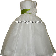 grass green and Antique White organza CUSTOM Flower Girl Dresses and front flower