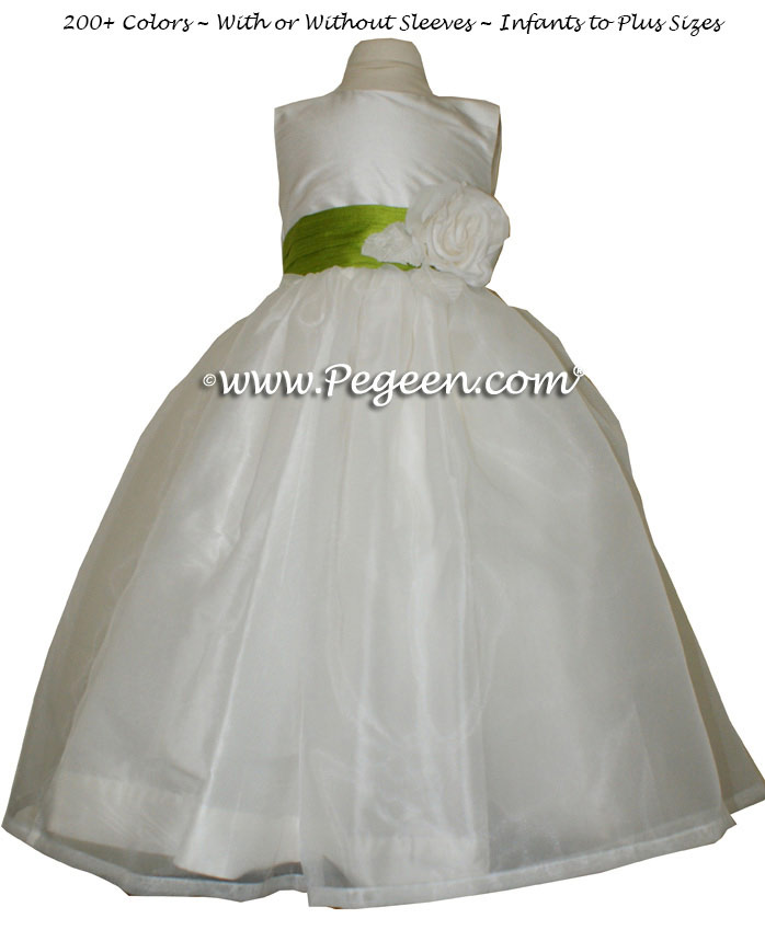 Grass Green and Antique White organza custom silk flower girl dresses
