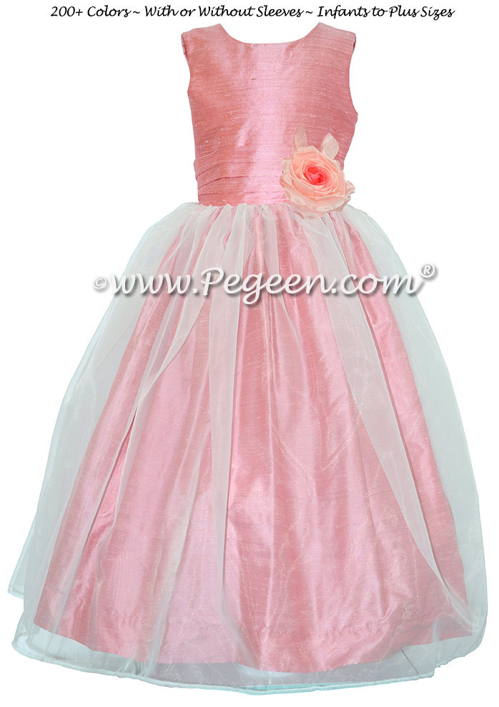 Gumdrop Pink Flower Girl Dresses Style 359 with Flower and Organza Skirt