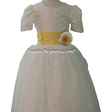 lemonade and New ivory silk Tulle Custom Flower Girl Dresses