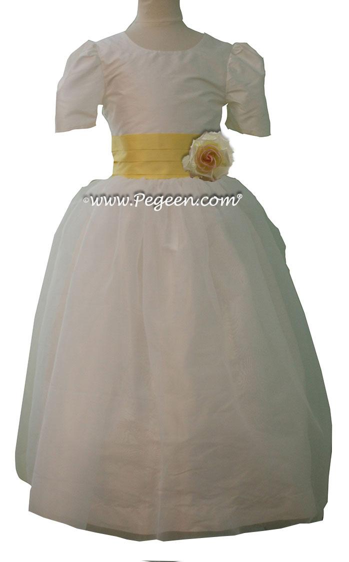 Lemonade and New Ivory silk Custom Flower Girl Dresses by Pegeen