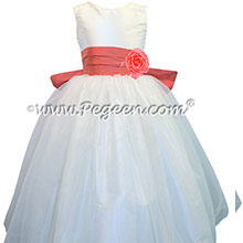 Melon and Antique White Organza Flower Girl Dresses with Pleated Sash