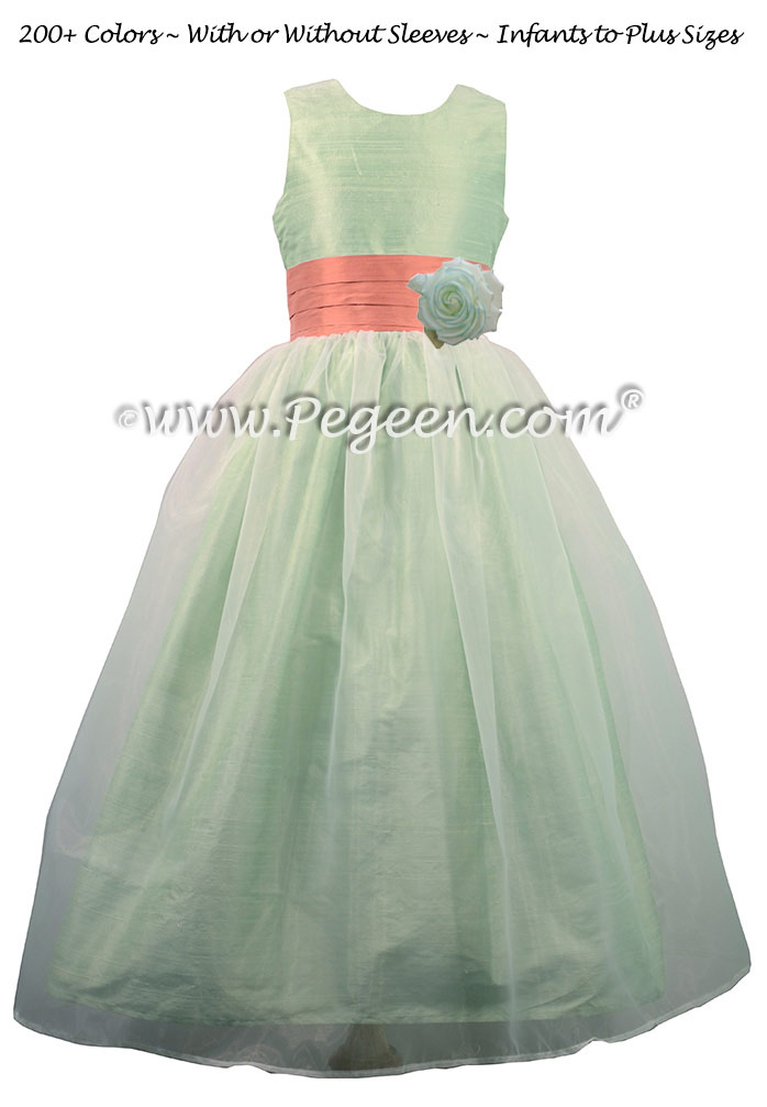 Sunset and Summer Green with Organza custom Flower Girl Dress by Pegeen
