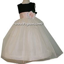 Custom Black and Baby Pink silk Organza Flower Girl Dresses by Pegeen