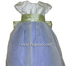 Periwinkle and Summer Green Silk Flower Girl Dresses Style 345 from Pegeen
