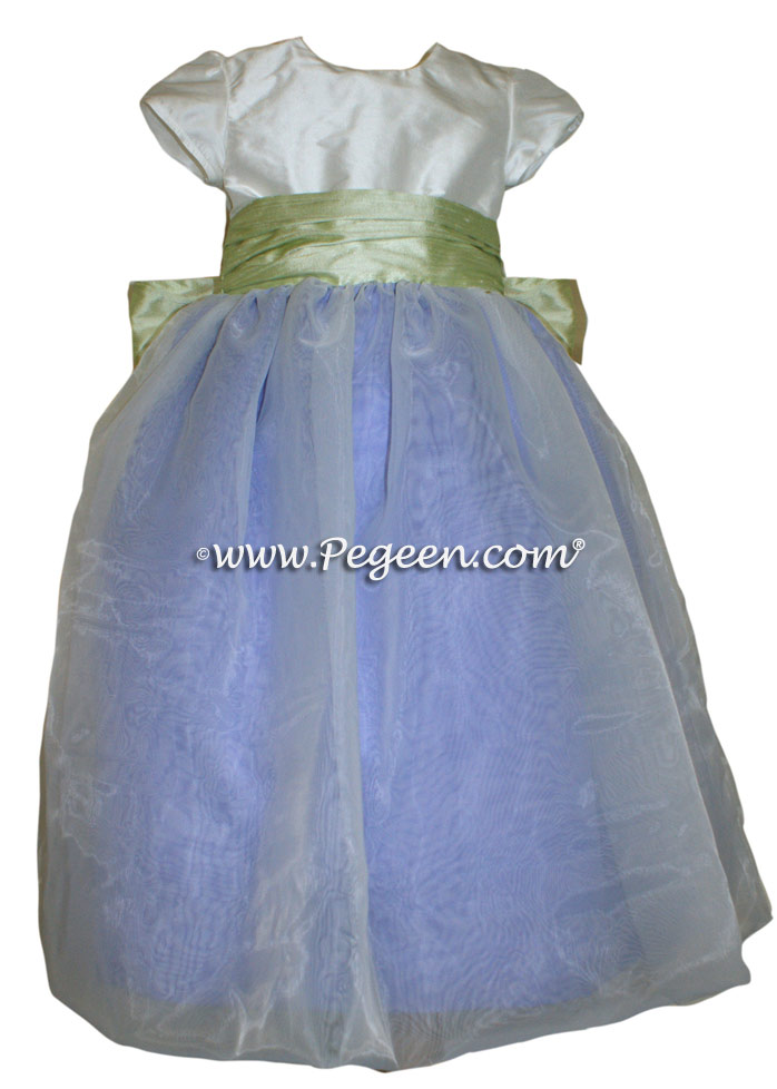 FLOWER GIRL DRESSES in Periwinkle and Summer Green