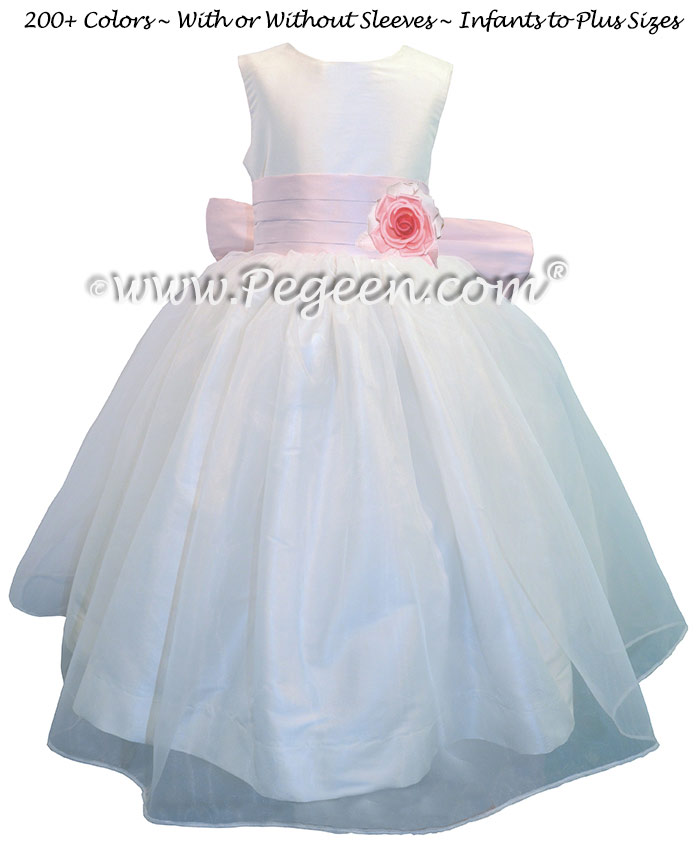 Petal Pink with Antique White Silk and Organza Flower Girl Dresses