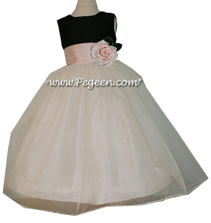 Black and Baby Pink silk with Pink Organza CUSTOM FLOWER GIRL DRESSES by Pegeen