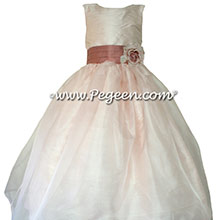 Blush Pink and Rum Pink silk with Pink Organza CUSTOM Flower Girl Dresses by Pegeen