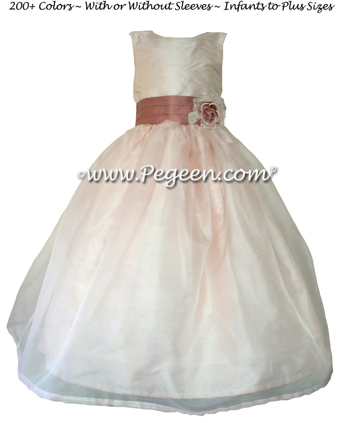 Blush Pink and Rum Pink Silk Pink Organza Custom Flower Girl Dresses