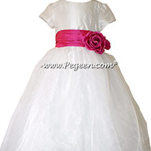 SHOCK PINK and new Ivory Silk and Organza Flower Girl Dress style 359