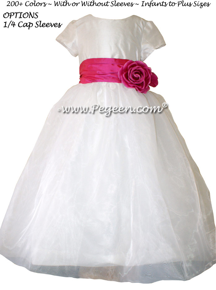 Shock Pink and Antique White silk Custom Flower Girl Dresses by Pegeen