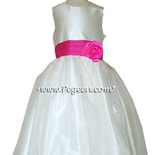Shock (hot pink) and Antique White organza CUSTOM Flower Girl Dresses With Front Flower
