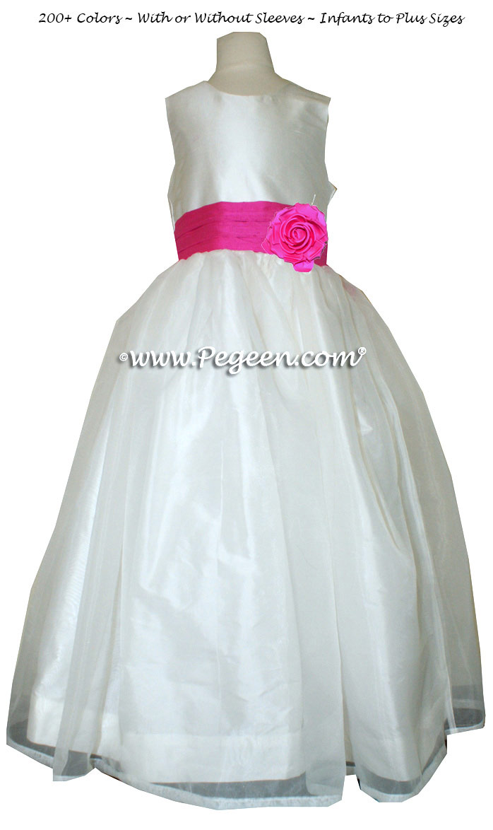 Shock Pink And New Ivory Silk And Organza Flower Girl Dress Pegeen