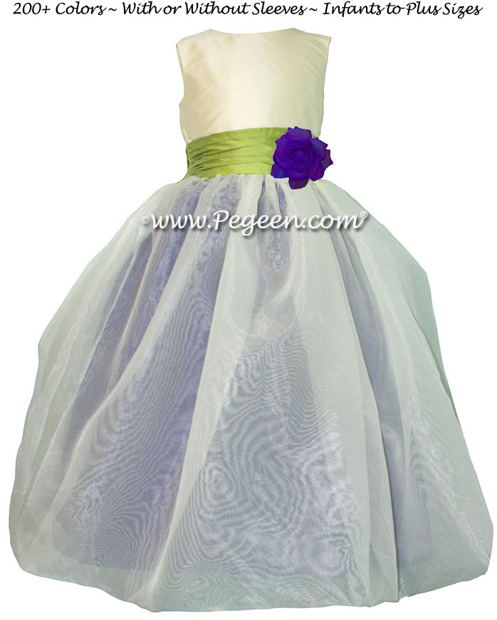 Sprite Green and Regal Purple with Organza custom Flower Girl Dress by Pegeen