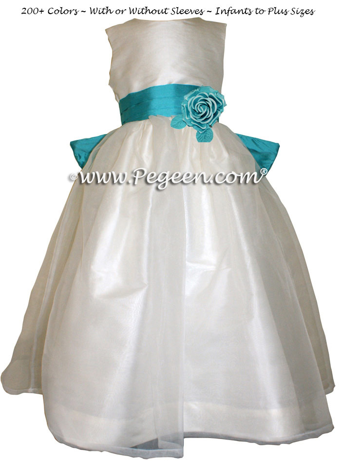 Turquoise and New Ivory Tahiti Silk Flower Girl Dresses Style 359