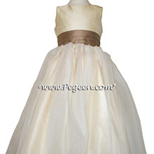ANTIQUA TAUPE AND BUTTERCREME CUSTOM Flower Girl Dresses