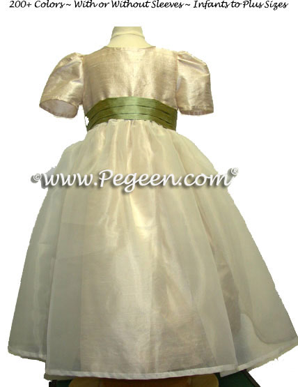 Custom Toffee and Harvest Green Silk Organza Flower Girl Dresses