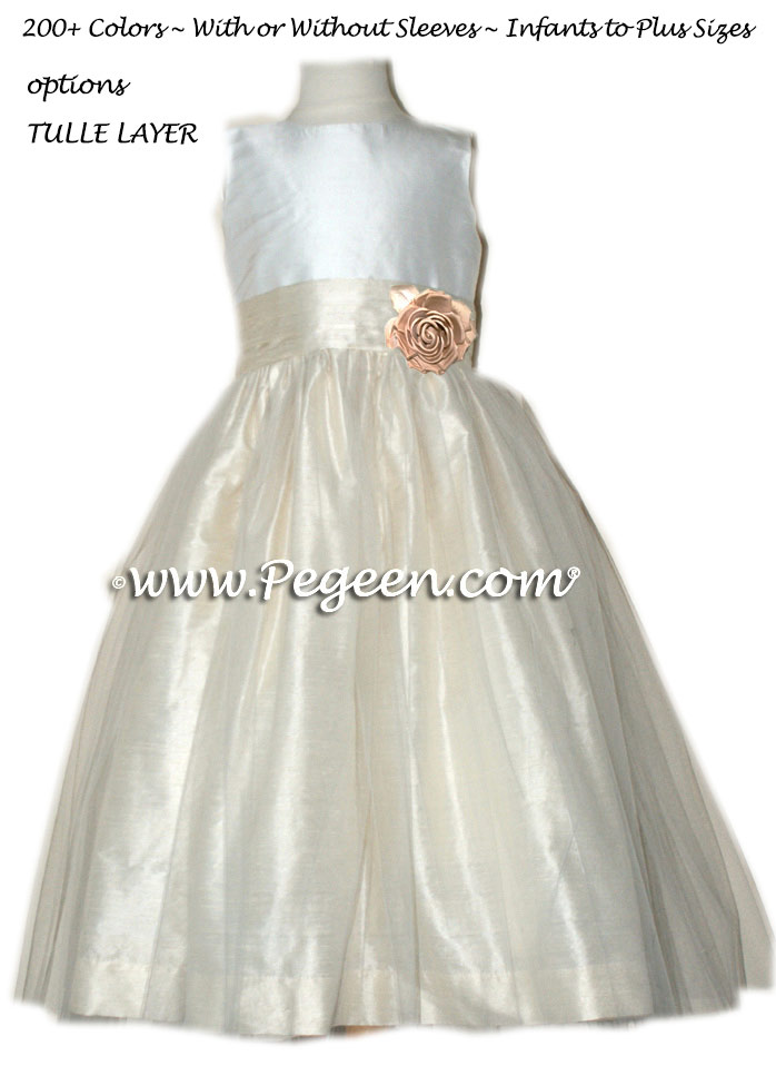 Bisque and New Ivory organza Flower Girl Dresses Style 359