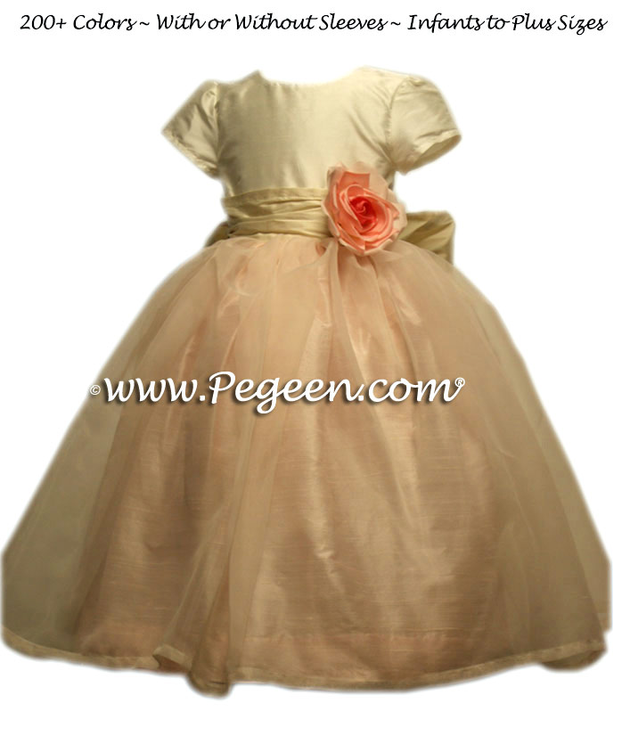 Blush Pink and Bisque with Ivory Organza Flower Girl Dresses Style 359