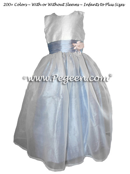 White and Blue Denim Flower Girl Dresses Style 359 with Flower and Organza Skirt