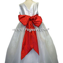 TOMATO RED and WHITE Flower Girl Dresses