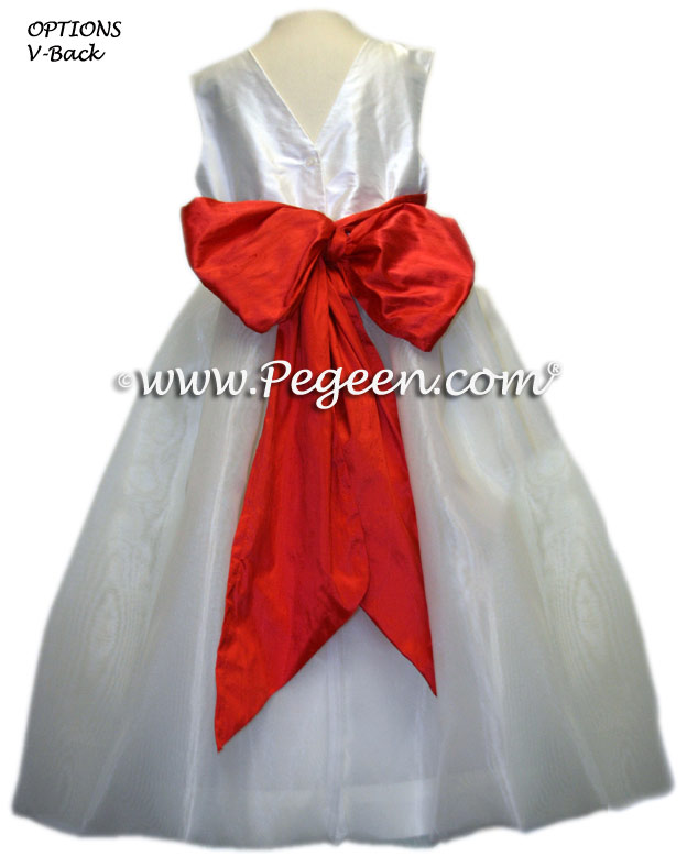 TOMATO RED FLOWER GIRL DRESSES WITH ORGANZA SKIRT