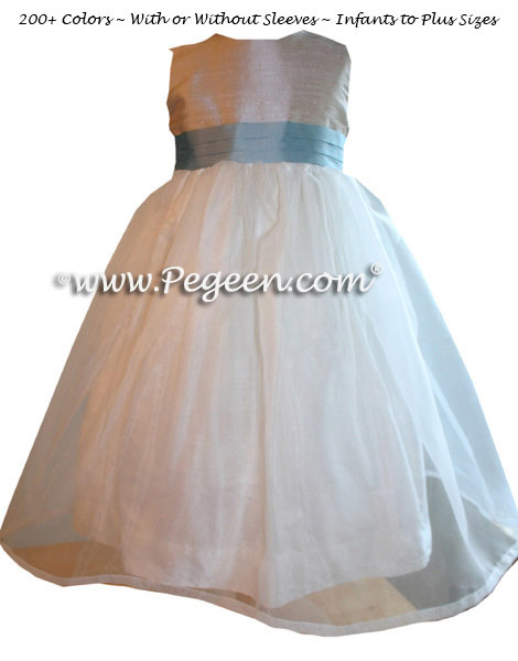 Jim Hjelm Matching Flower Girl Dress with toffee bodice, ivory skirt and Caribbean blue sash