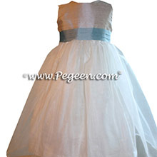 CUSTOM CARIBBEAN BLUE FLOWER GIRL DRESSES
