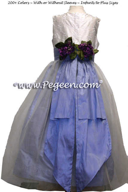 Ocean Blue with White embroidered silk bodice and Organza Flower Girl Dress