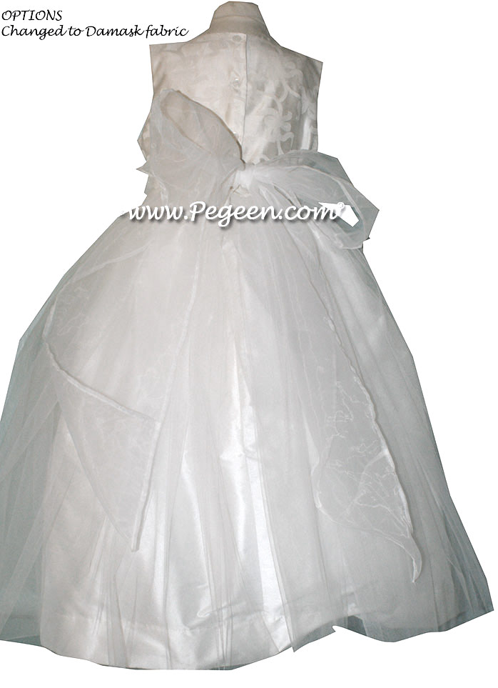 White Silk Damask First Communion Dresses