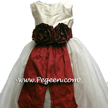 silk gold and cranberry flower girl dresses